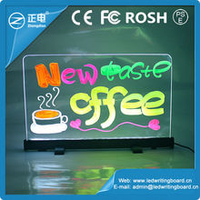 2015 low price acrylic panel desktop led writing message board advertising for shops