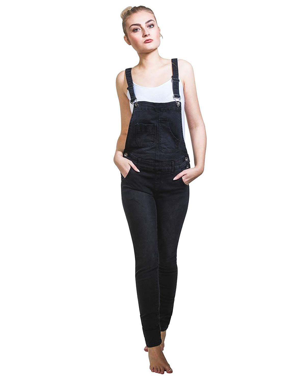 e9411279 Get Quotations · Vivid Black Denim Skinny Fit Bib-Overalls Ladies dungarees  Narrow Leg