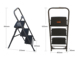 Safety 3-tier folding stools step ladder with handle