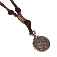 Factory direct leather jewelry retro woven men's round pendant necklace