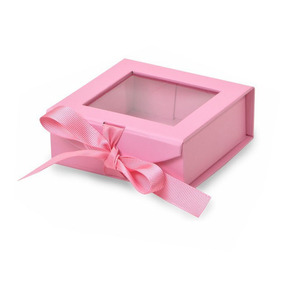 High quality PET window 8x8 gift boxes with ribbon