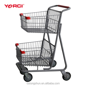 Four wheel shopping unfolding shopping trolley cart with 2 wire basket