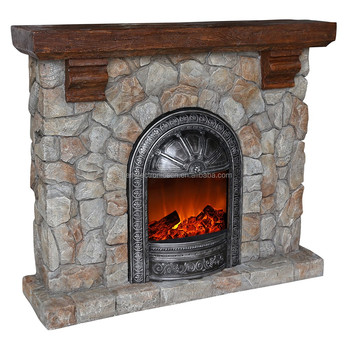 Polystone Stacked Stone Free Standing Electric Fireplace