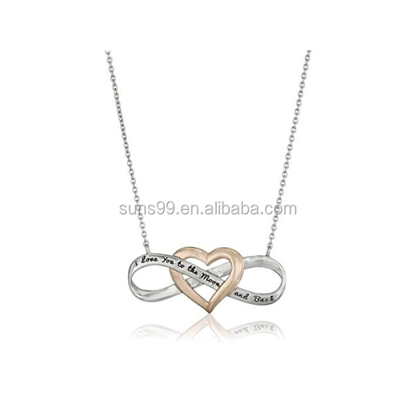 Rose Gold Flashed Silver and Infinity Heart I love you to the Moon and Back Necklace
