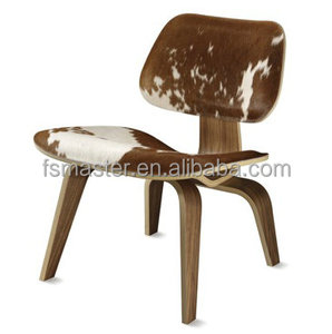 Charles plywood covered walnut veneer cowhide leather dining chair