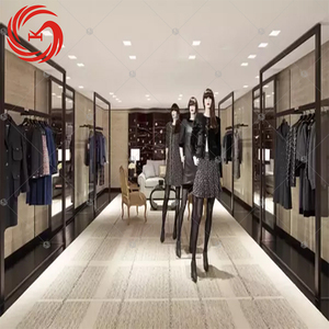 Laminate women clothing store display fixtures wood clothing display shelf