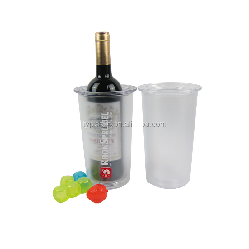 plastic wine one bottle frosty ice cooler bucket 1L double wall