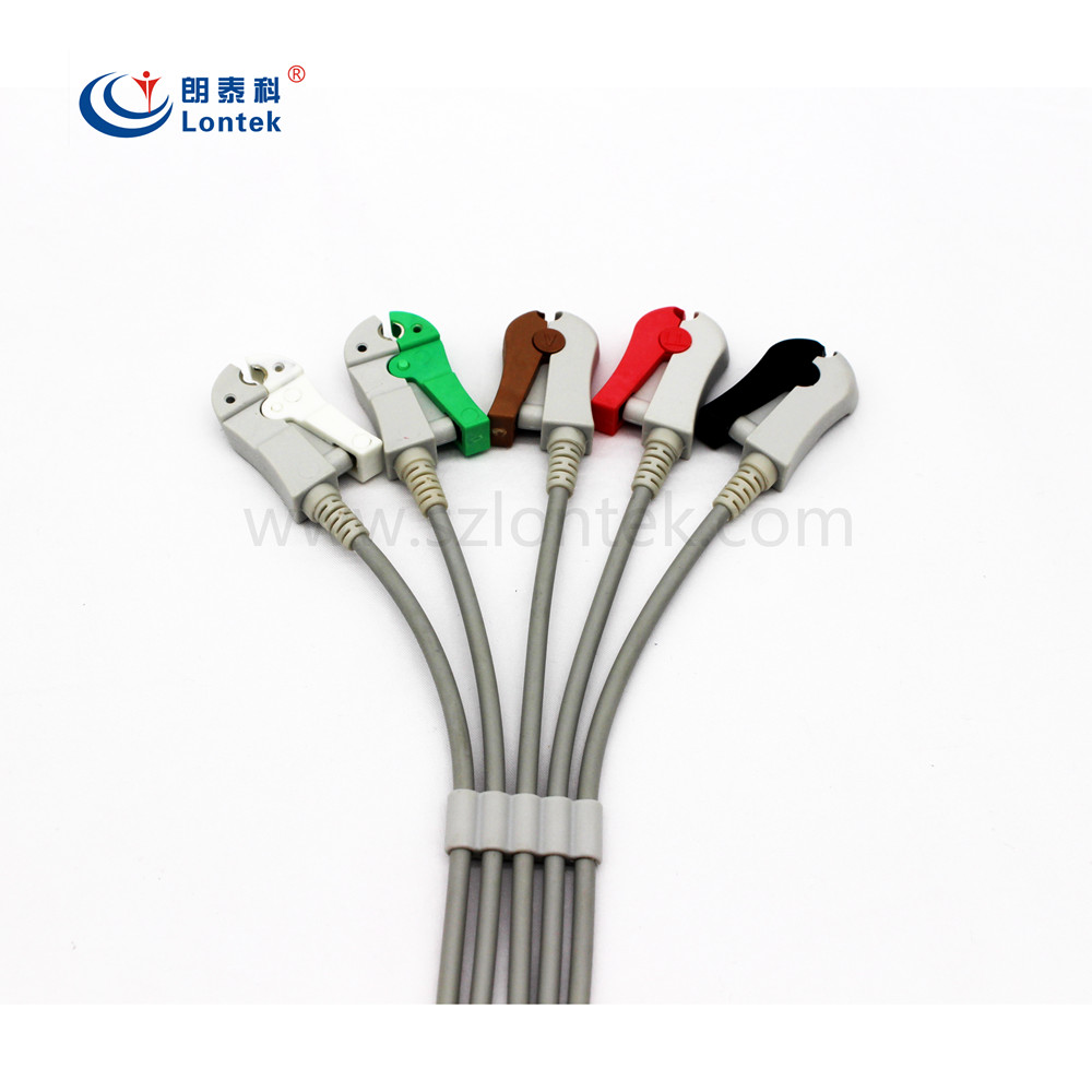 5 Lead Aha Clip Patient Monitor Cable Ecg Ekg Lead Wire For Mindray ...