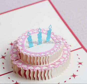 3D Pop Up Children Happy Birthday Cake Cards Printable Greeting Kirigami Card Wedding Postcards Wishes