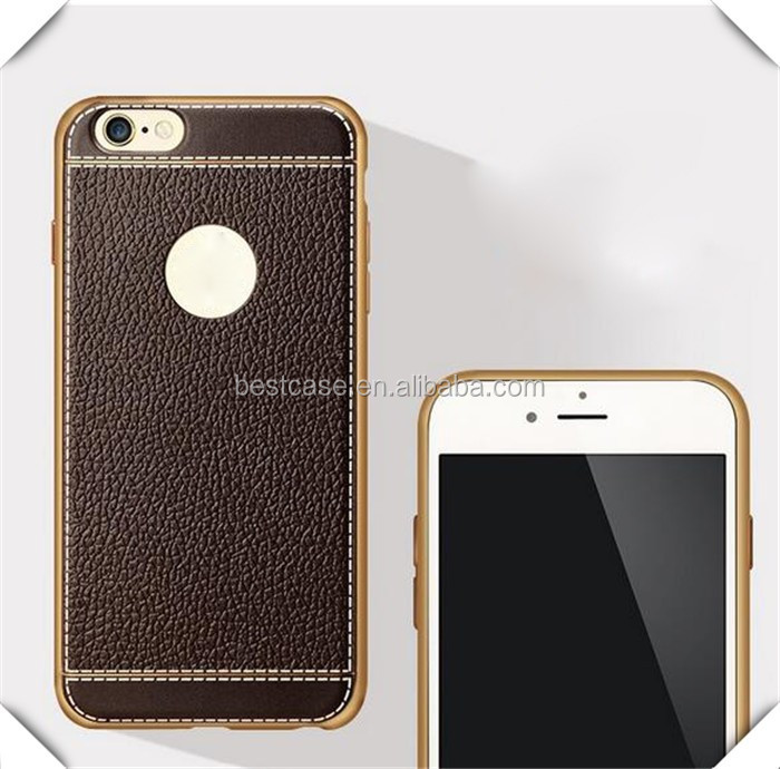 Litchi Luxury gold electroplate bumper case for iphone 7plus with high quality