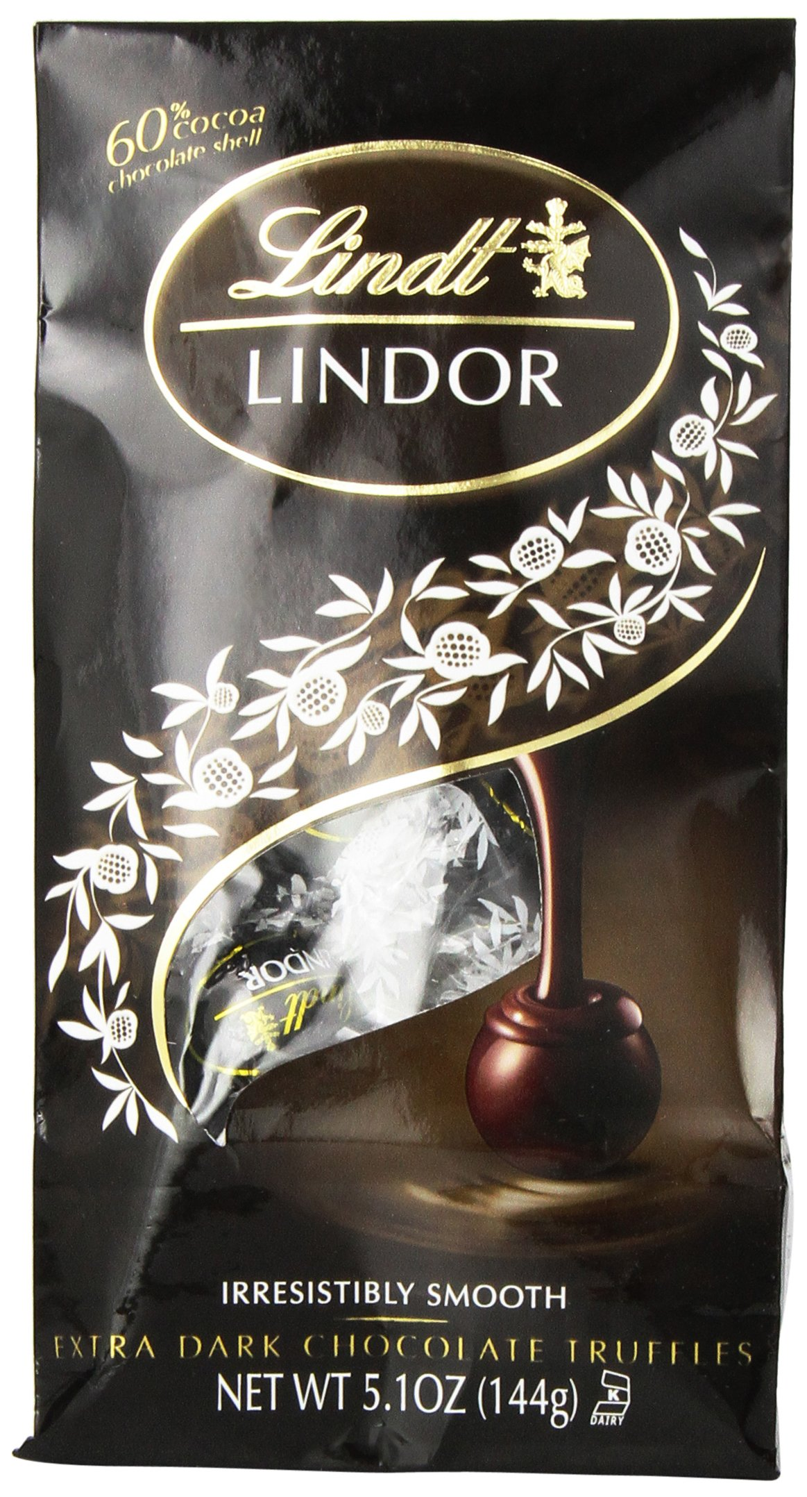 Lindt LINDOR 60% Extra Dark Chocolate Truffles, 5.1 Ounce (Pack of 6)