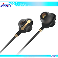 3.5mm Plug Double Moving-coil In-ear HiFi Music Stereo Noise Cancelling Earphones for Computer / Mobile phone