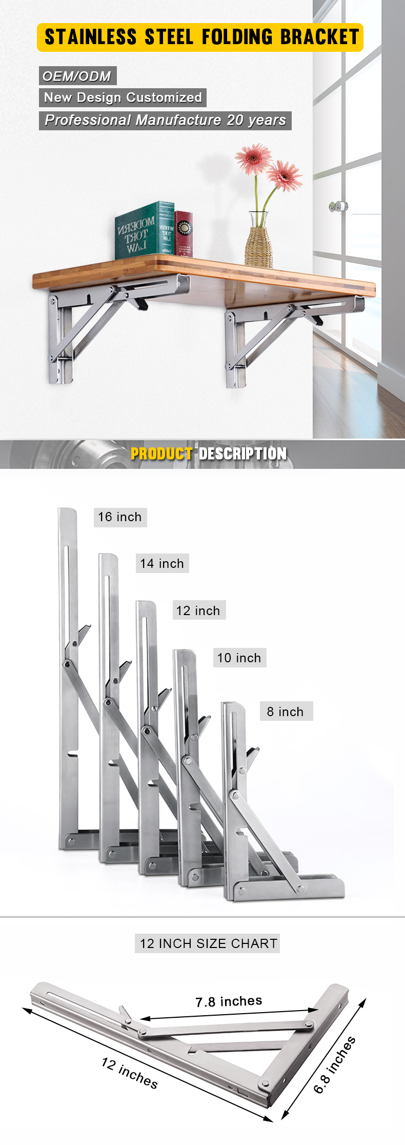 Factory Stainless Steel Pull Down Shelf Hardware Fold Away Table Shelf  Brackets Made In China 12'' - Buy Pull Down Shelf Hardware,Fold Away Table