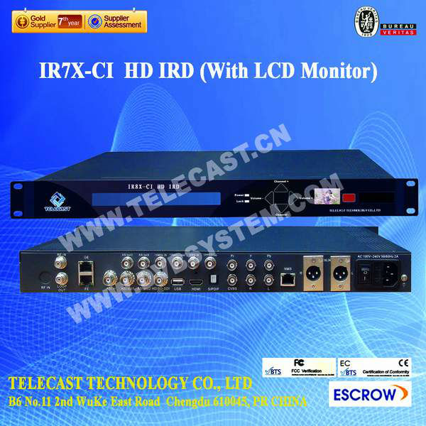 DVBS2, HD Receiver (With LCD Monitor ASI\IP Input&Output )