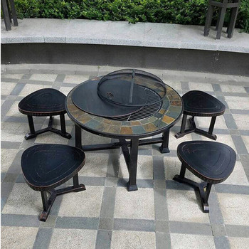 Outdoor Garden Patio Backyard Wood Burning Bbq Brazier Charcoal