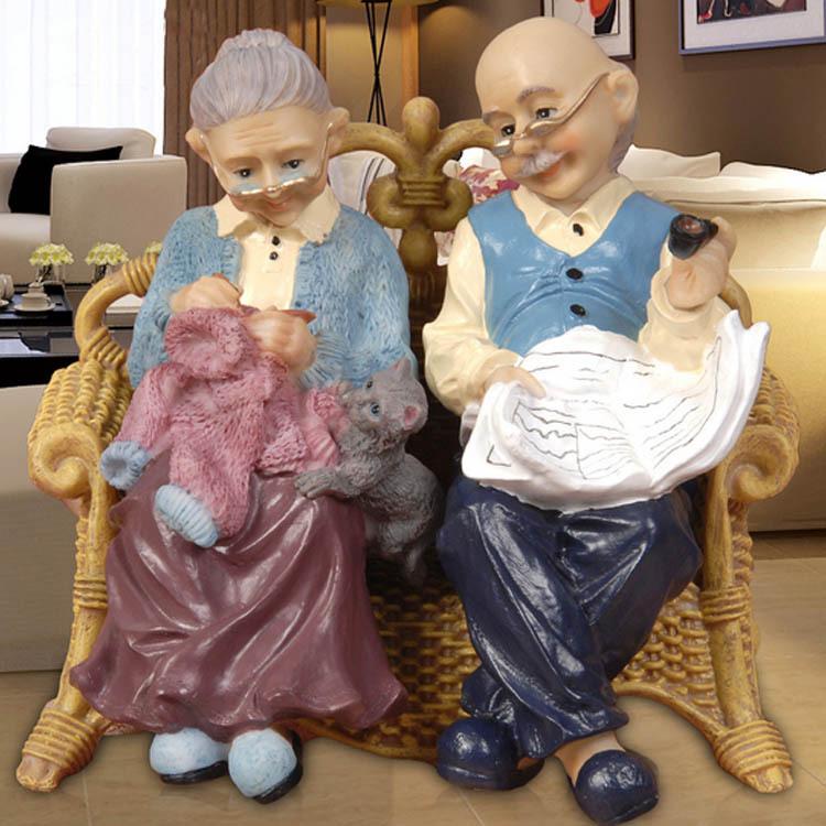 Old Couple Figures For Garden Resin Crafts Terrarium