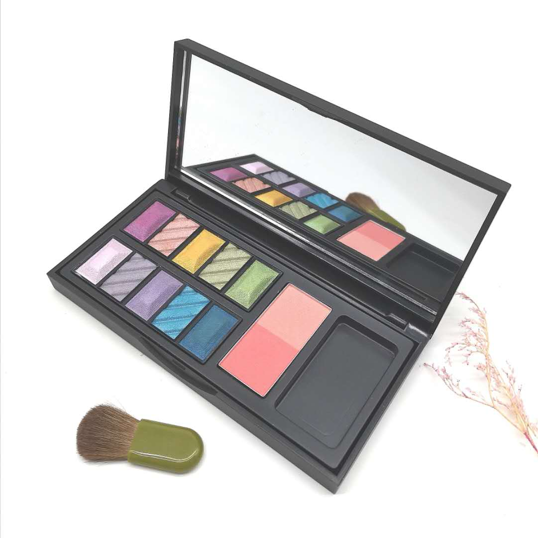 Wholesale Colorful Custom Paletas De Sombras Eye Shadow Private Label Eyeshadow Palette Blush With Mirror And Brush