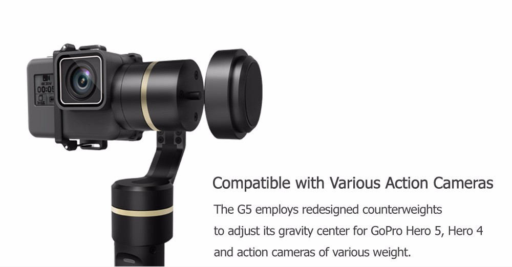 2018 FeiyuTech black handheld gimbal G5 gimbal with splash-proof for Go Pro 6/5