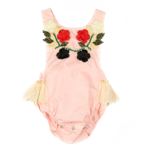 Adjustable Baby Grow Rompers Boutique Pink Cotton Bodysuit Decorative Embroidery