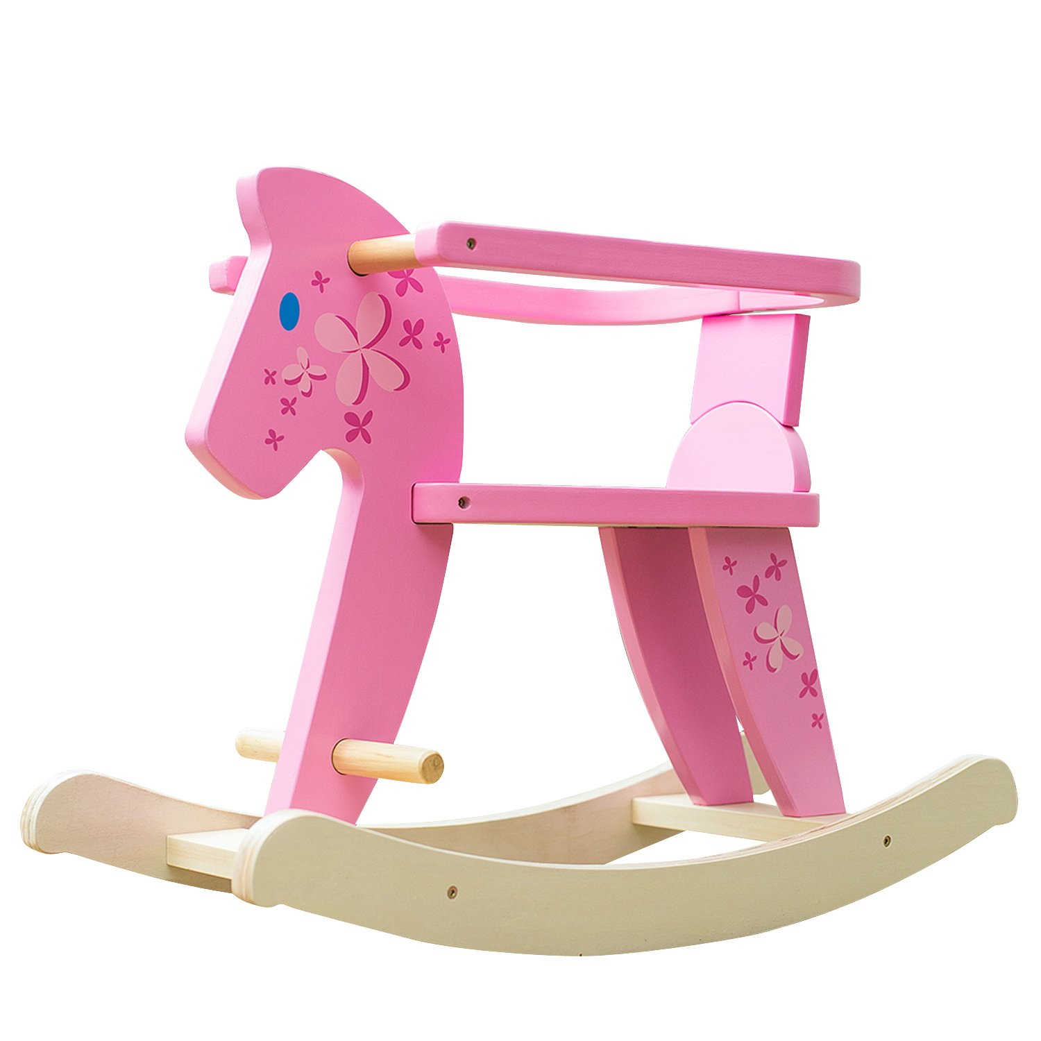 Labebe Child Rocking Horse, Wooden Rocking Horse Toy, Pink Rocking Horse for kid 1-3 Years, Baby Rocking Horse Set/Kid Rocking Horse Chair/Outdoor Rocking Horse/Rocker/Animal Ride/Rocking Toy
