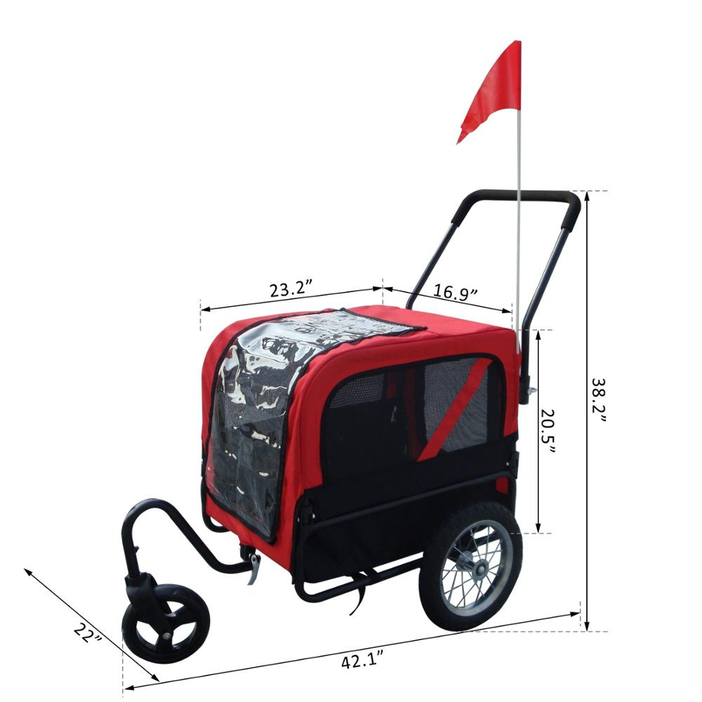 Dog Pet Bike Trailer / Stroller w/ Swivel Wheel - Red / Black