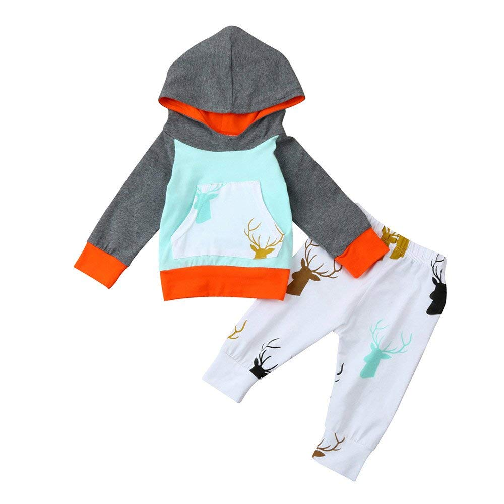 Yihaojia 2Pcs Cotton Pajama Clothes Set Newborn Infant Baby Boy Girl Deer Hoodie Sweatershirt Tops+Pants Outfits 3-18M (age: 2-3 month, Blue)