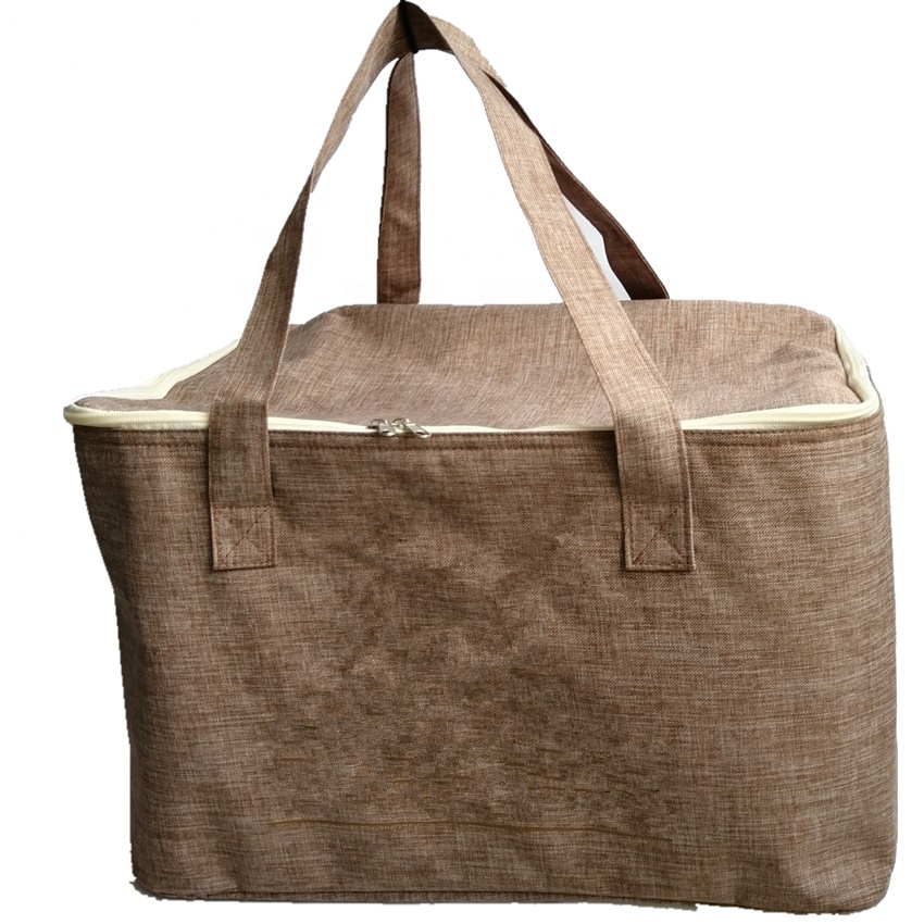 2019 Fashion Big Size Custom Made Jute Hemp Picnic Cooler Lunch Tote Cooling Insulated Shopping Grocery Bag For Shopper Picnic