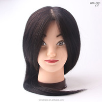 2016 New salon 100% human hairdressing training heads practice mannequin head