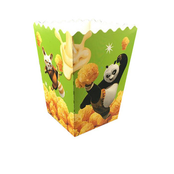 24oz disposable paper popcorn buckets, square bottom paper packing popcorn box for takeaway