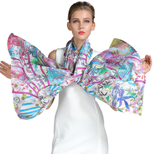 Luxurious women's digital custom printed silk scarf
