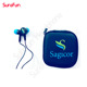 Fashion pattern custom logo silicon in-ear stereo plastic earphone with package box