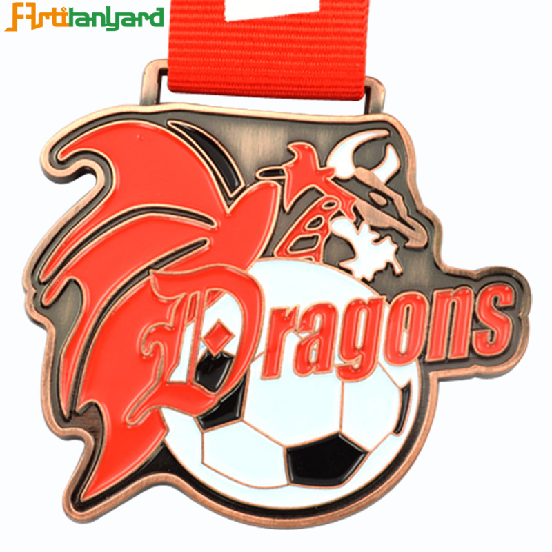 Customized Soccer Medal Sports Trophies Medal Awards Metal Copper Football Medal With Ribbon