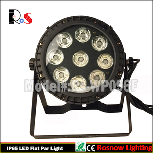 LED DJ lighting RGBWA+UV 6in1 outdoor stage par64 uplight/ 9*18W LED waterproof flat par can for DJ effect