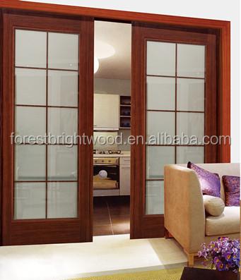 Vidrio interior de madera doble puerta corredera con - Puertas correderas de cristal y madera ...