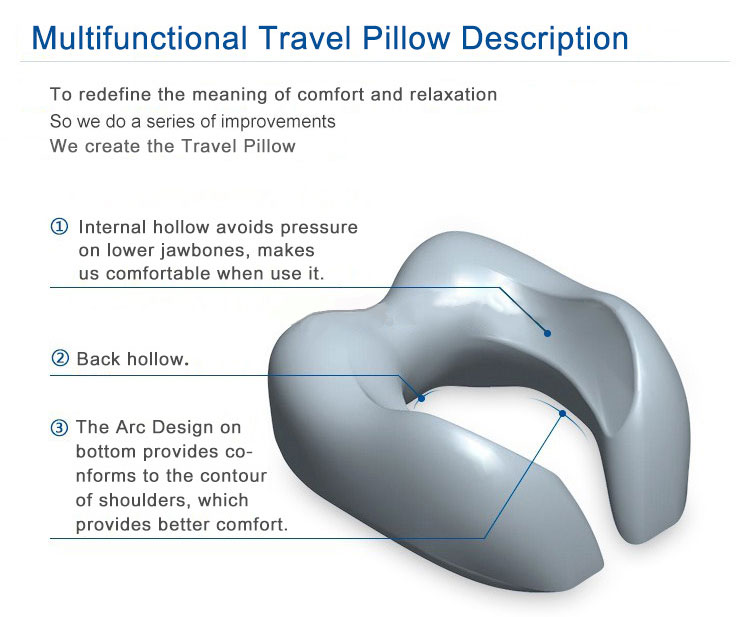 Bamboo Fiber Portable Neck Traction Rest Super Soft Memory Foam Neck Support Travel Pillow With Sleep Mask Earplugs Carry Bag
