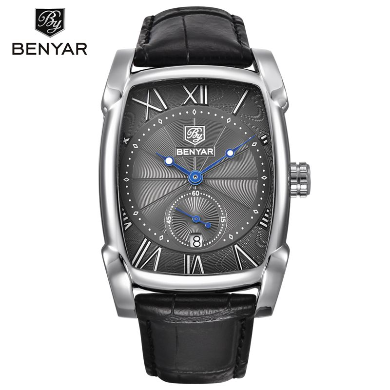BENYAR 5114 Brand Luxury Watches Fashion Square Business Calendar Clock Leather Strap Waterproof Sports Quartz Men Wrist Watches фото