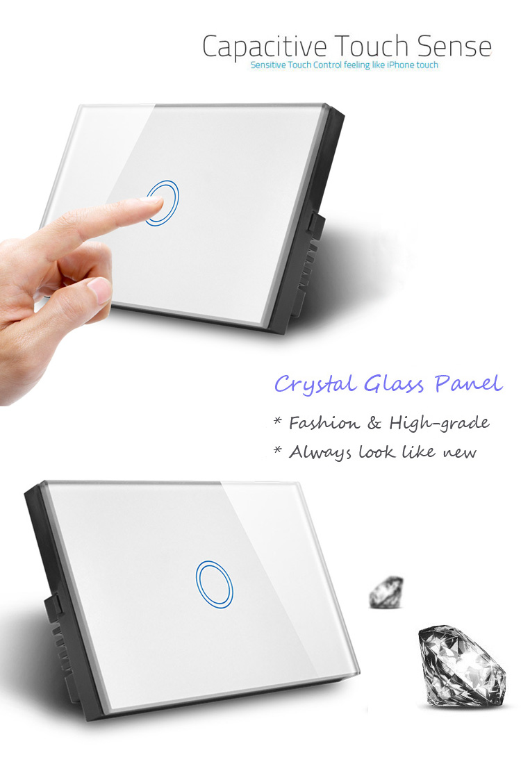 US/AU Standard 강화 (gorilla Glass) Panel Capacitive Touch 빛 Switch 1 Gang 1 Way