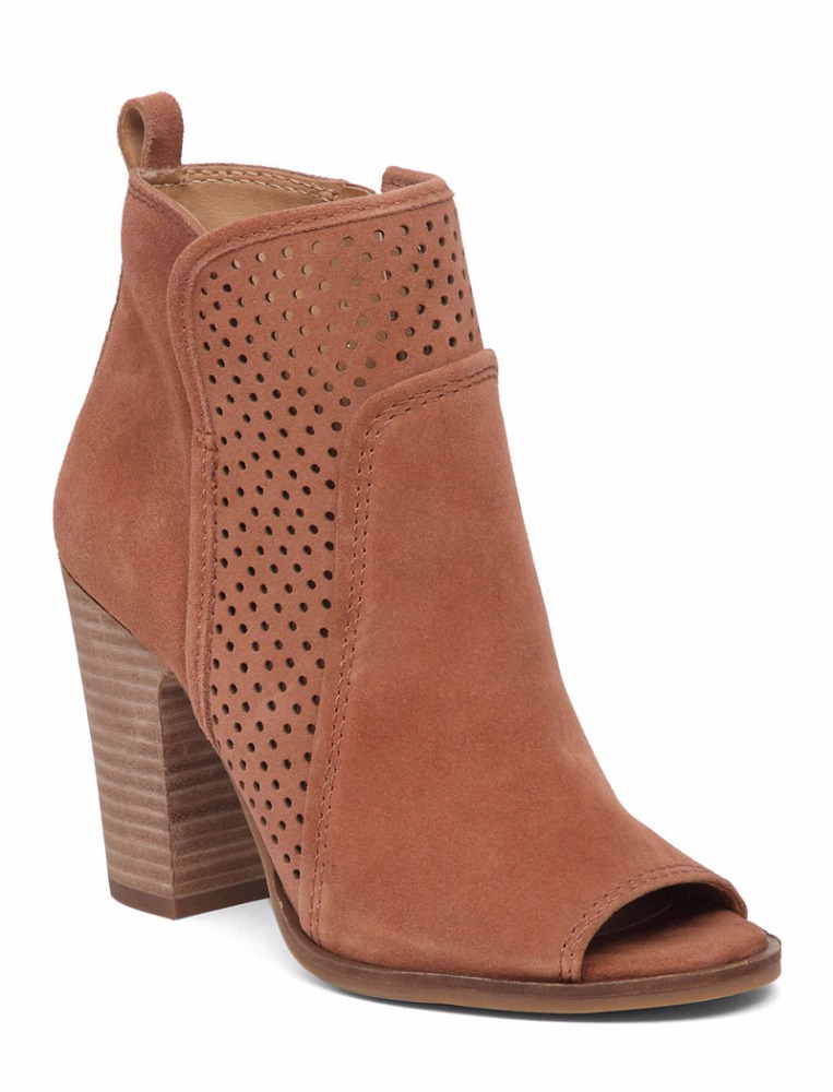 Ladies comfortable Brown cut out leather booties Chunky heel slip-on Cow Suede leather ankle boots for summer