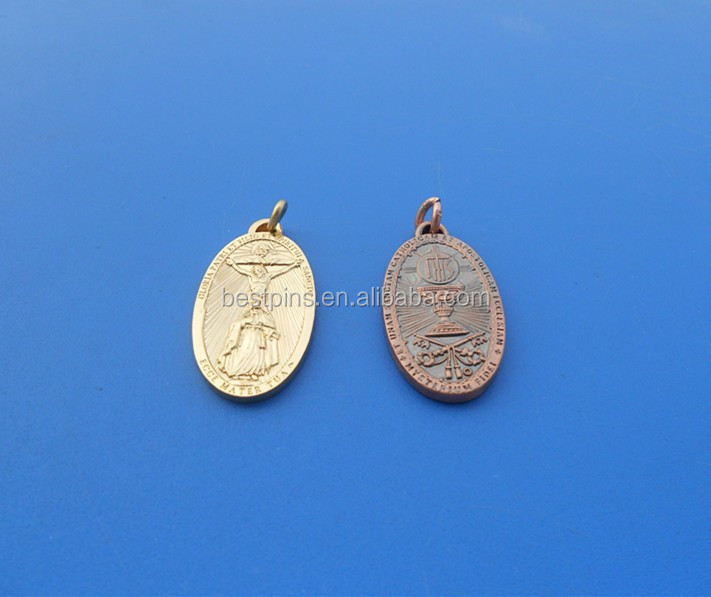 Antique Bronze Pewter Religious Pendant Charms