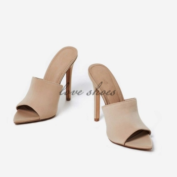2018 Sexy Pointed Peep Toe Mule In