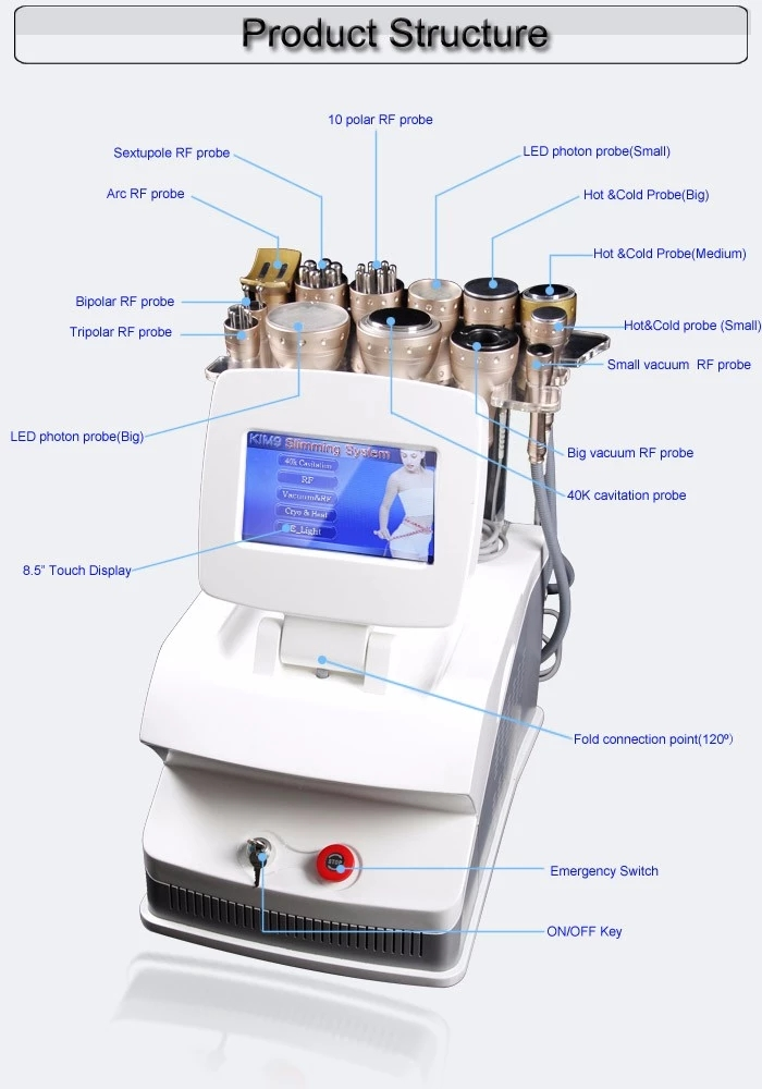 Massagem ultra-sônica da cavitação 40Khz + vácuo + máquina bipolar do emagrecimento do corpo do salão de beleza da cavitação do Rf Velashape