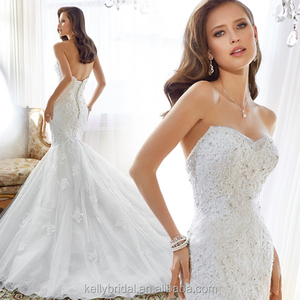ZM 16120 luxury mermaid wedding dresses lace appliqued low open back white wedding gowns for bridal
