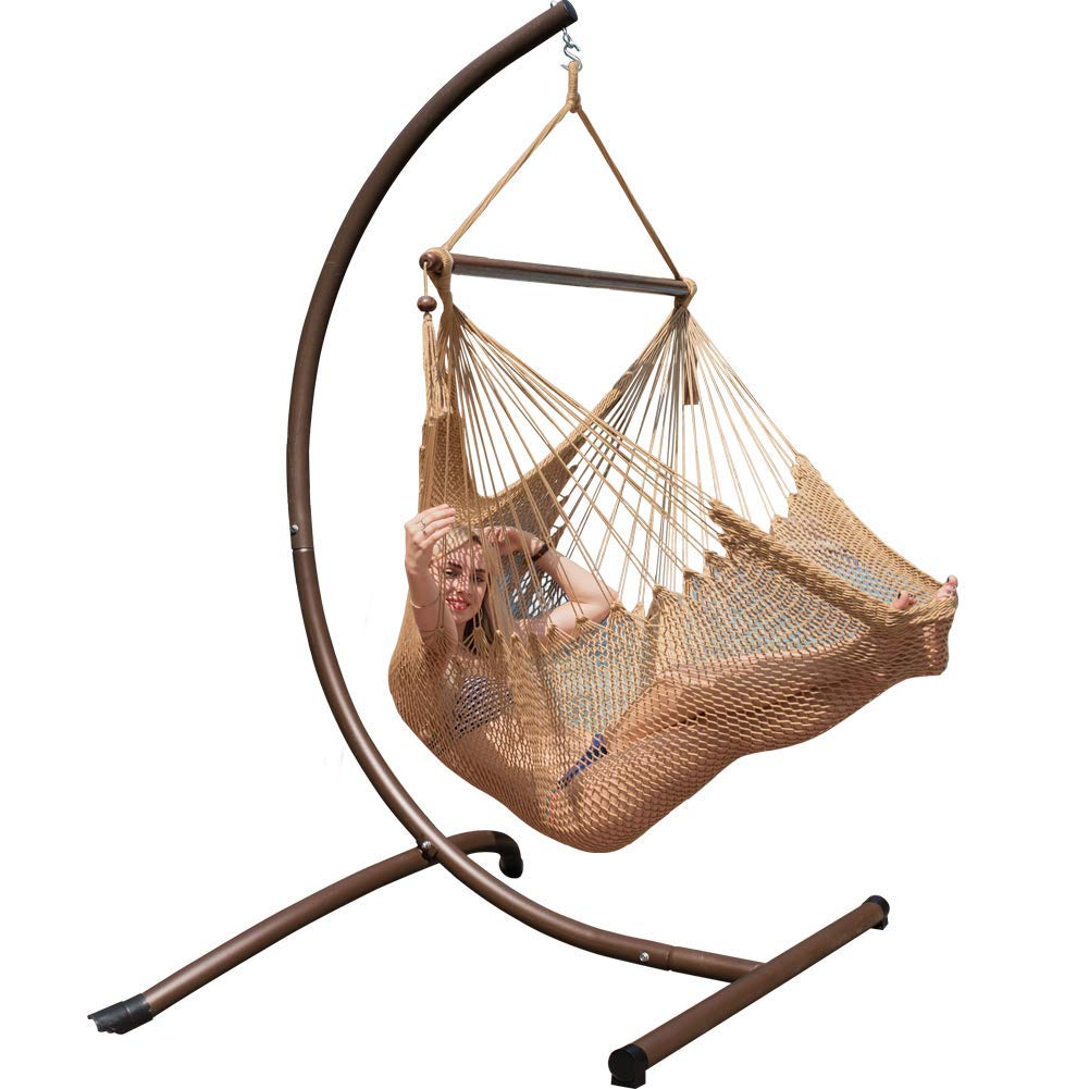 Outdoor Power Coated Steel Arc Hanging Hammock Chair ...