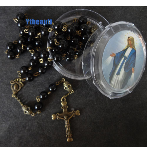 Pray Bead Jesus Cross double steps Necklace Black Pearl Beads Gold Rosary