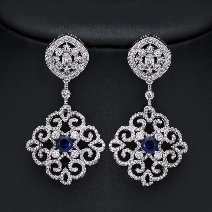 SJ Vintage Wedding Jewelry SJLE0056 Unique Bridal Brass Gold Plated Filigree Dangle Simulated Sapphire Blue Statement CZ Earring