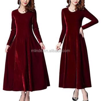 Velvet Frock Design Dress Wholesale Cheap Women Elegant Long Sleeve ...