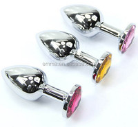 Butt Toy Plug Anal Insert Stainless Metal Steel Plated Jeweled Sexy Stopper HK160