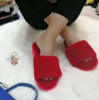winter slide shoes for women fur lined slippers soft fur slippers