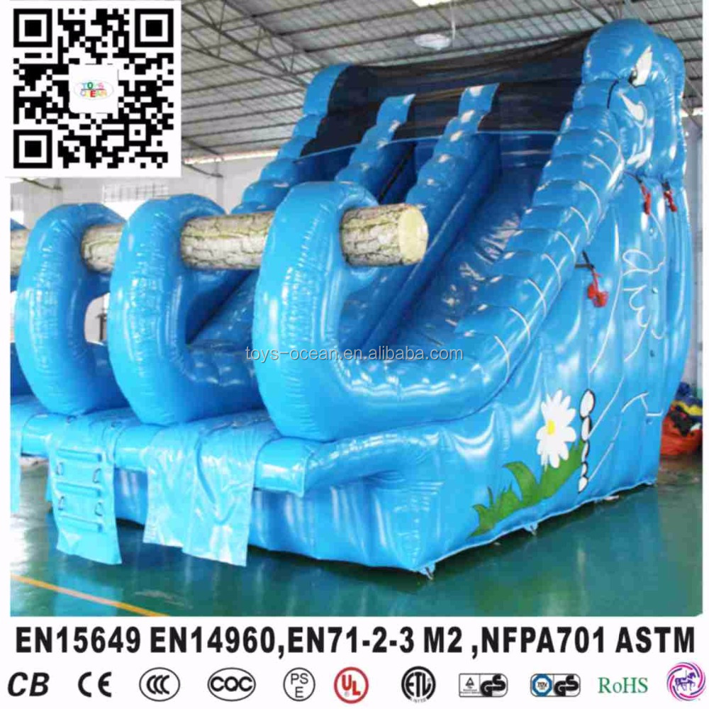 blue inflatable elephant water slide for giant swimming pool for sale
