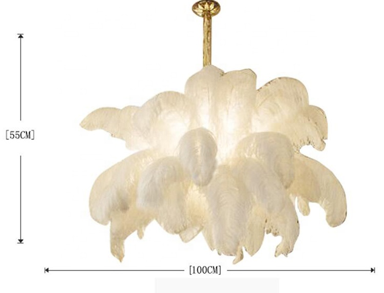 Large modern hanging pendant lamp black white pink ostrich feather chandelier light